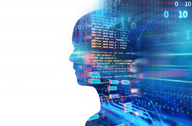 double exposure image of virtual human 3dillustration on programming and learning technology